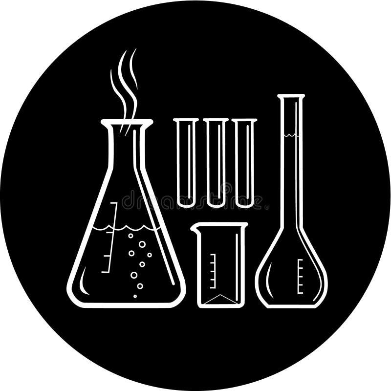 Ícone químico das câmaras de ar de teste do vetor ilustração royalty free