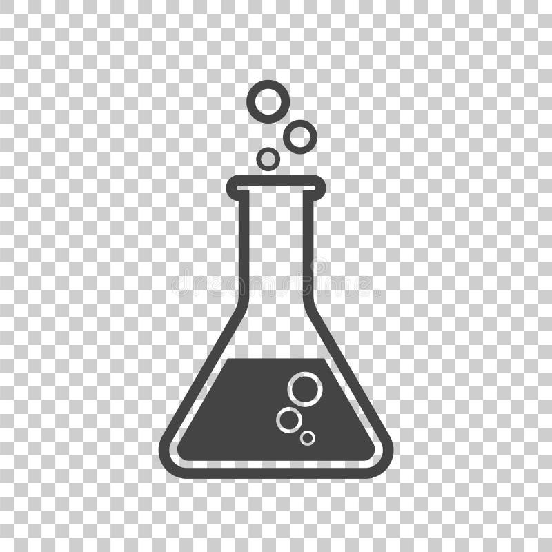 Ícone químico do pictograma do tubo de ensaio Isolat químico do equipamento de laboratório ilustração royalty free