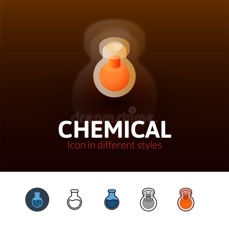 Ícone químico no estilo diferente ilustração do vetor