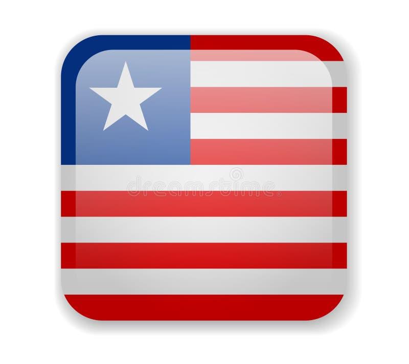 Ícone quadrado brilhante da bandeira de Libéria em um fundo branco ilustração stock