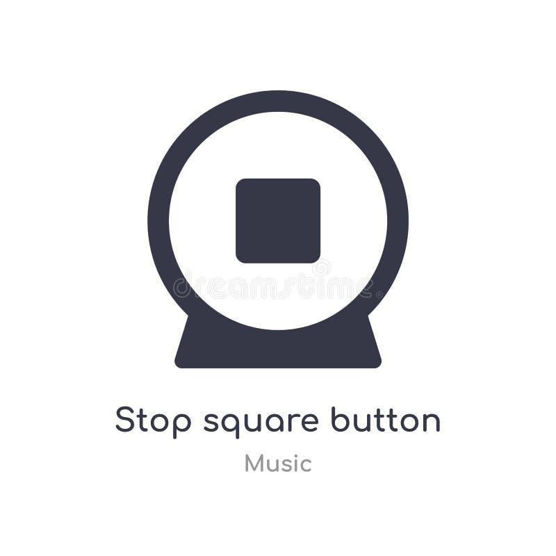 ícone quadrado do esboço do botão da parada linha isolada ilustração do vetor da coleção da música botão quadrado da parada fina  ilustração stock