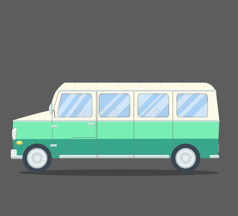 Ícone quadrado liso da camionete do curso com sombras longas ilustração do vetor
