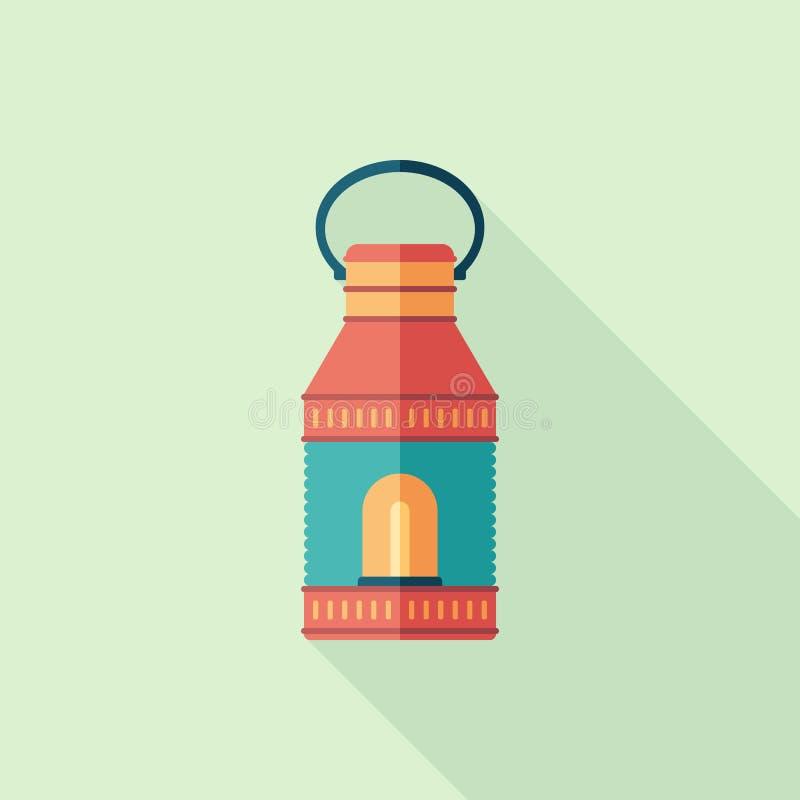 Ícone quadrado liso da lâmpada retro com sombras longas ilustração stock
