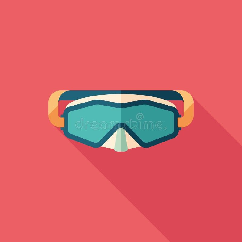 Ícone quadrado liso da máscara do mergulho autônomo com sombras longas ilustração stock