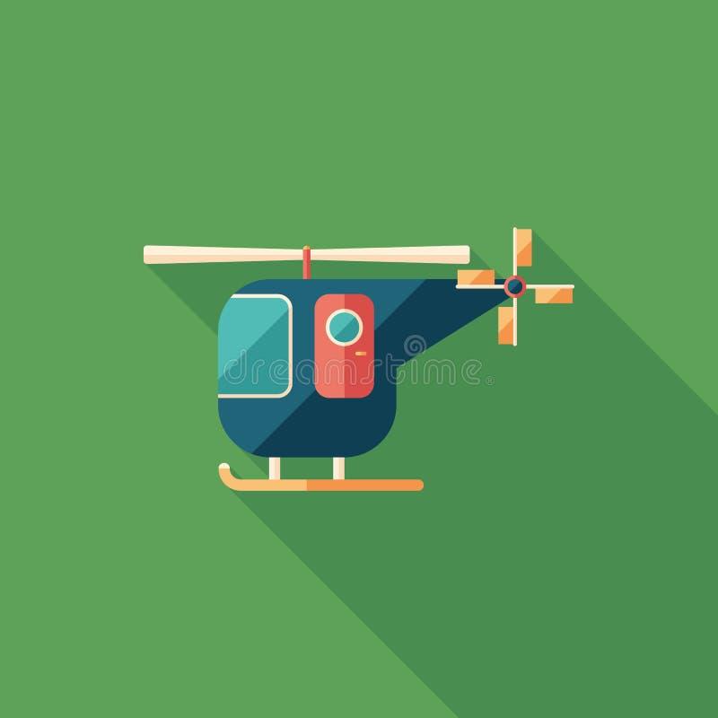 Ícone quadrado liso do helicóptero civil com sombras longas ilustração do vetor
