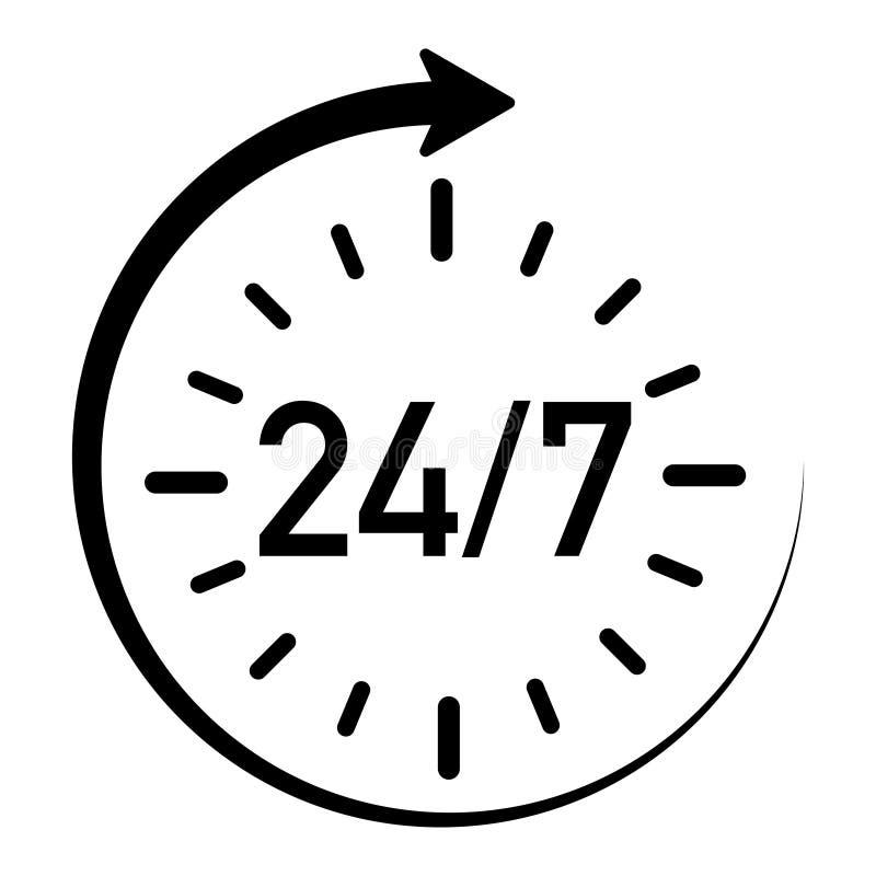 Ícone que mostra a serviço 24 horas disponíveis um a semana ilustração royalty free