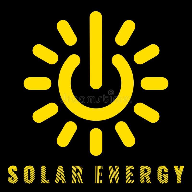 Ícone que une o sol e os sinais do poder que denotam a energia solar ilustração royalty free