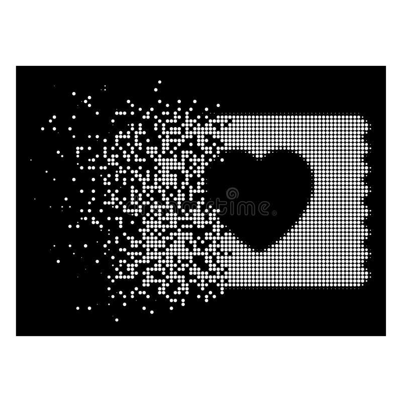 Ícone quebrado branco de Dot Halftone Heart Condom Pack ilustração royalty free