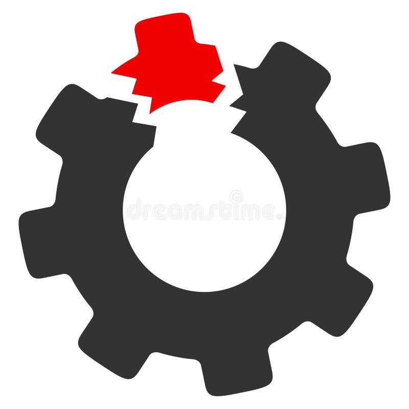 Ícone quebrado da quadriculação da roda denteada ilustração royalty free