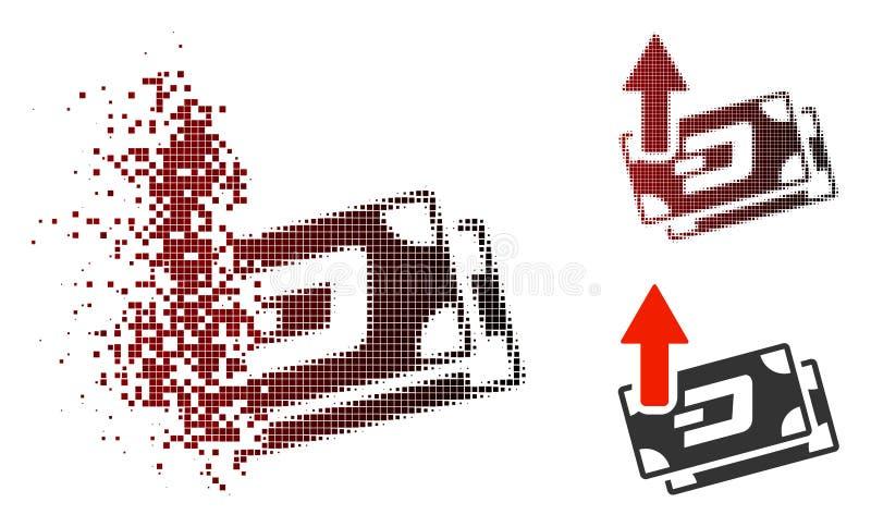 Ícone quebrado de Dot Halftone Dash Banknotes Cashout ilustração do vetor