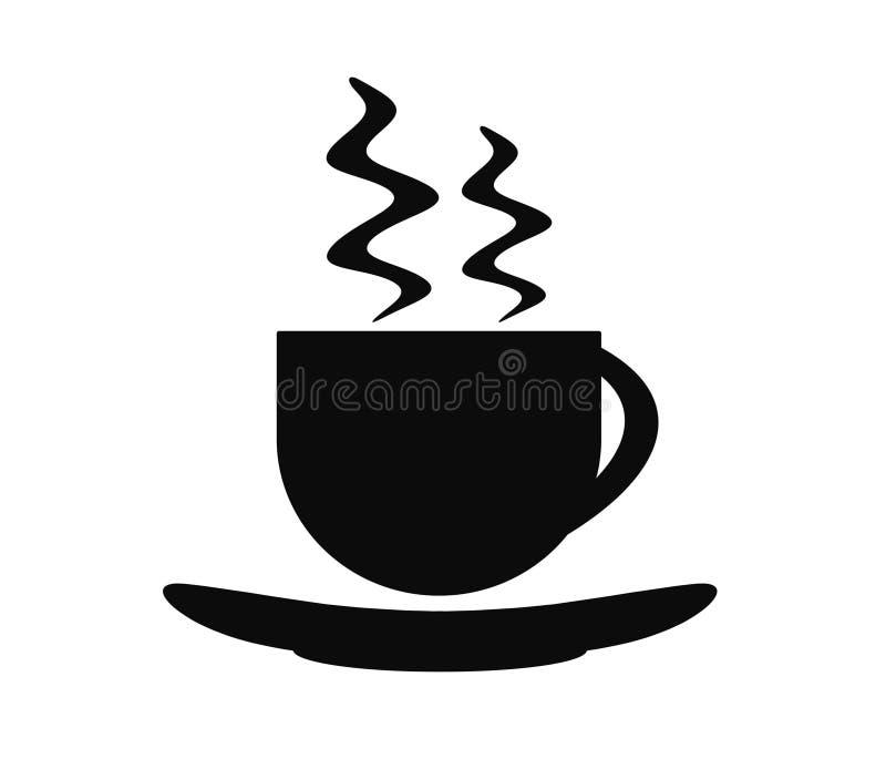 Ícone quente da bebida, copo do chá ou café, estilo liso ilustração stock