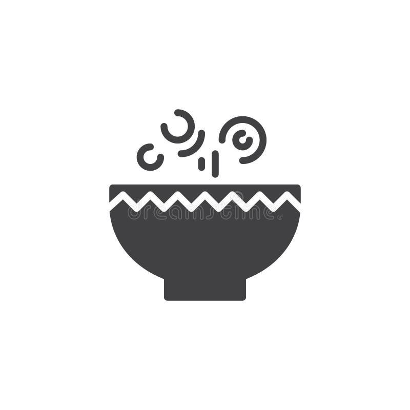 Ícone quente do vetor da bacia de sopa ilustração do vetor