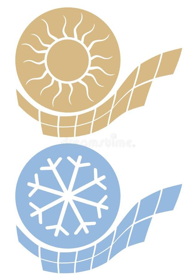 Ícone quente e frio ilustração royalty free