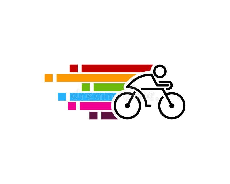 Ícone rápido Logo Design Element do ciclo da bicicleta da velocidade ilustração do vetor