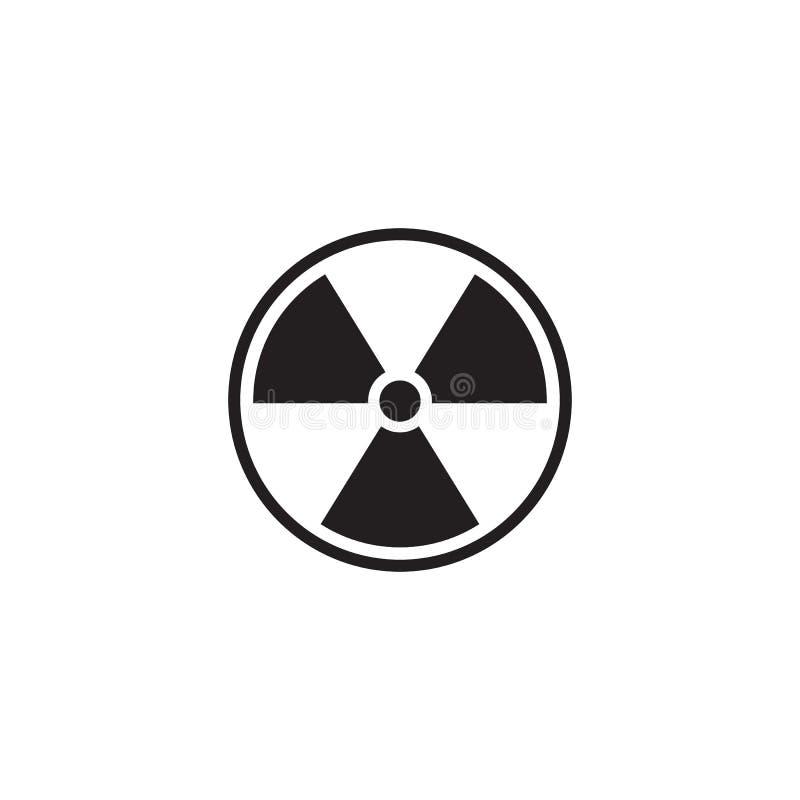 Ícone radioativo preto isolado no fundo branco Símbolo tóxico radioativo Sinal de perigo da radia??o Vetor ilustração royalty free