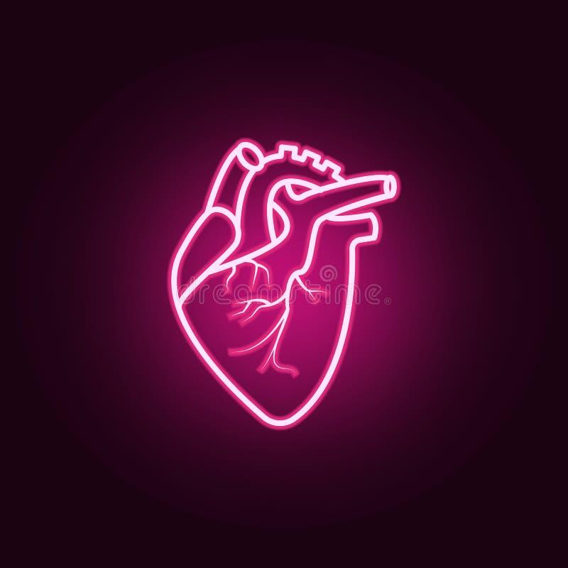 Ícone realístico de Heartneon Elementos do grupo das partes do corpo ?cone simples para Web site, design web, app m?vel, gr?ficos ilustração royalty free