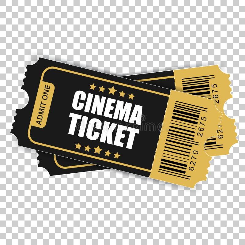 Ícone realístico do bilhete do cinema no estilo liso Admita um vale otorrinolaringológico ilustração stock