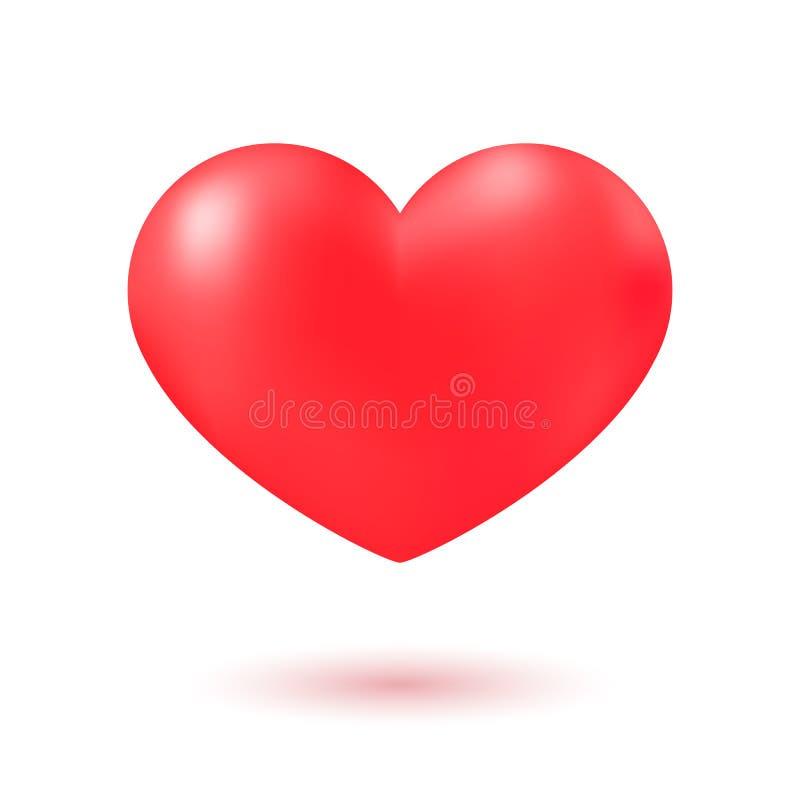 Ícone realístico do coração vermelho ilustração do vetor