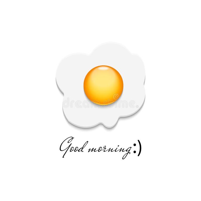 Ícone realístico do ovo frito, omeleta detalhada do close up 3D, logotipo tradicional do alimento de café da manhã da manhã, mode ilustração do vetor
