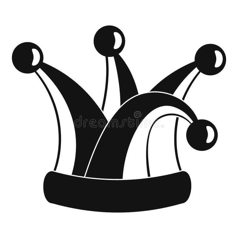 Ícone real do chapéu do bobo da corte, estilo simples ilustração do vetor
