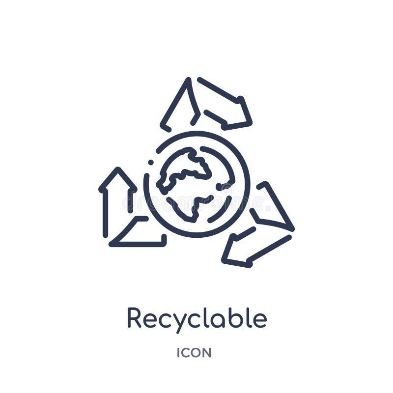 Ícone reciclável linear da coleção do esboço da ecologia Linha fina vetor reciclável isolado no fundo branco recyclable ilustração royalty free