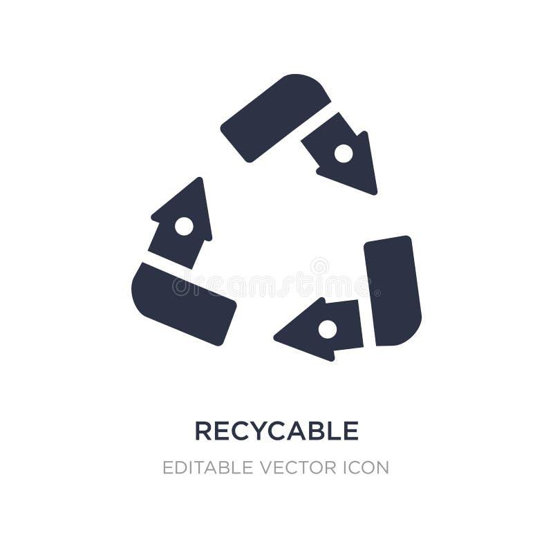ícone recycable no fundo branco Ilustração simples do elemento do conceito de UI ilustração do vetor