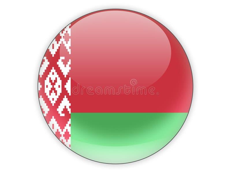 Ícone redondo com a bandeira de belarus ilustração do vetor