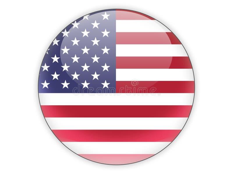 Ícone redondo com a bandeira de Estados Unidos da América ilustração do vetor