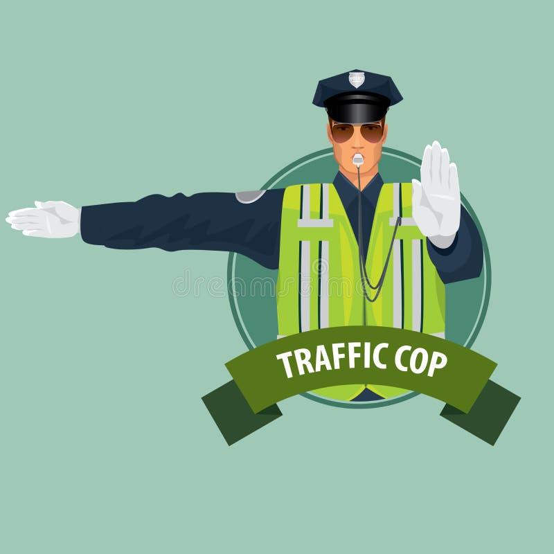 Ícone redondo com o oficial da polícia de trânsito ilustração do vetor