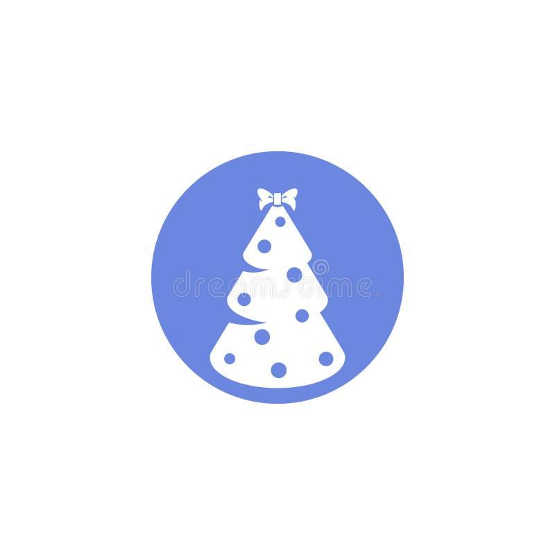 Ícone redondo da arte lisa simples do vetor da árvore de Natal ilustração do vetor