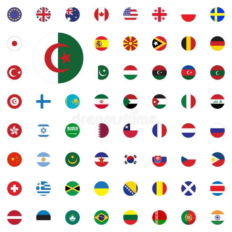Ícone redondo da bandeira de Argélia Ícones redondos da ilustração do vetor das bandeiras do mundo ajustados ilustração do vetor