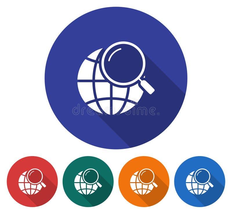 Ícone redondo da busca global ilustração stock
