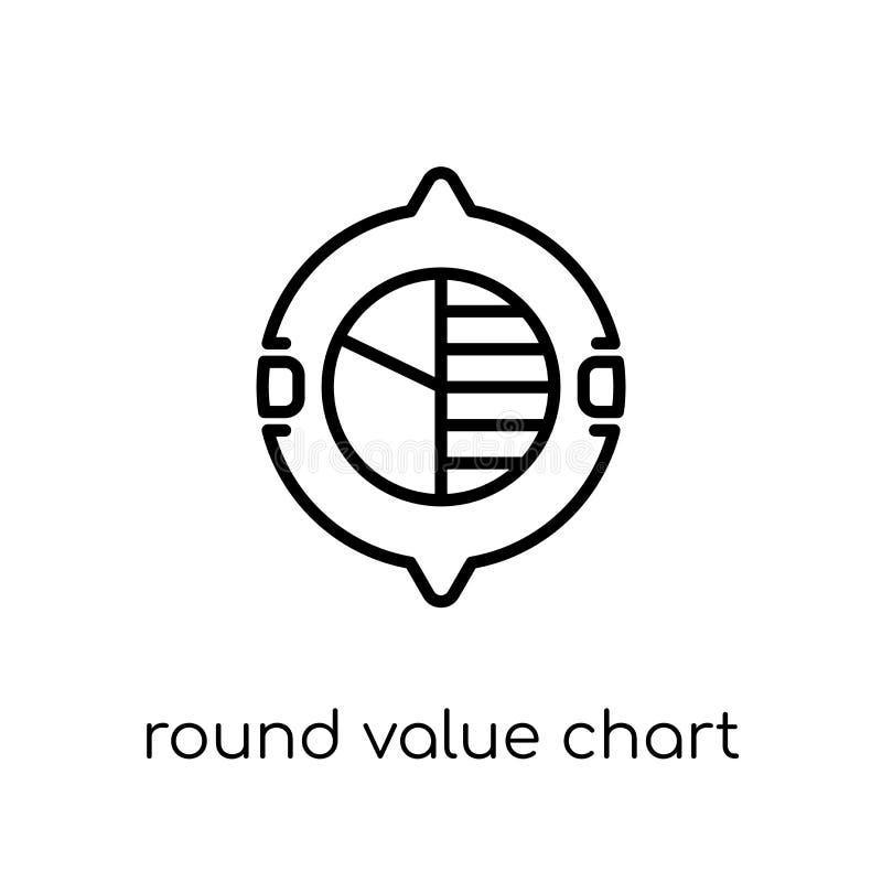Ícone redondo da carta do valor Vetor linear liso moderno na moda em volta de V ilustração do vetor