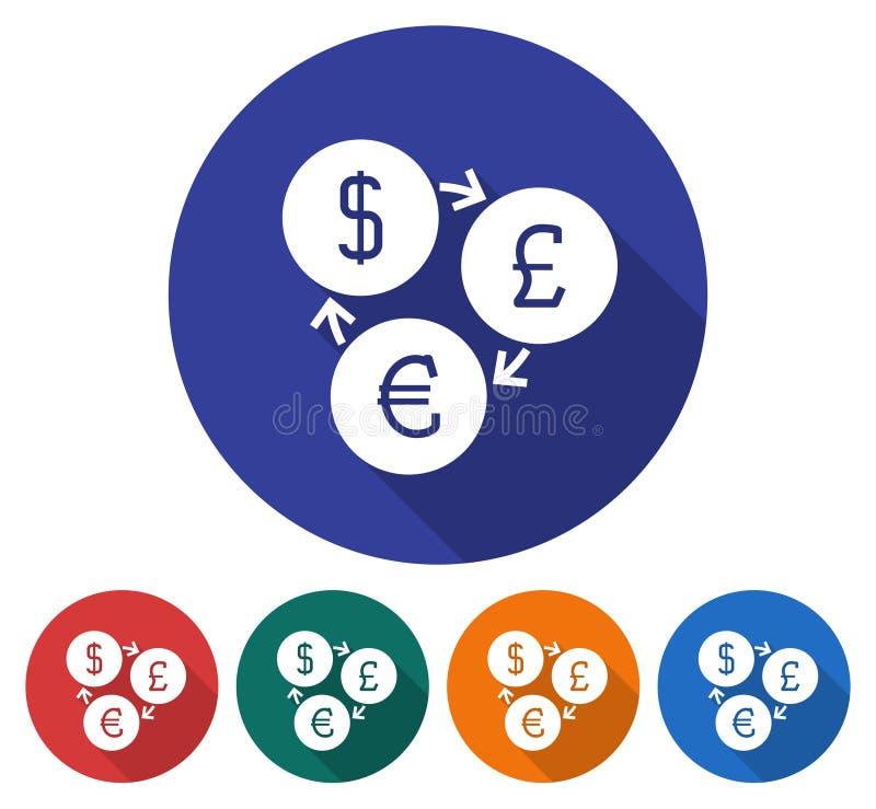 Ícone redondo da troca de moeda ilustração royalty free