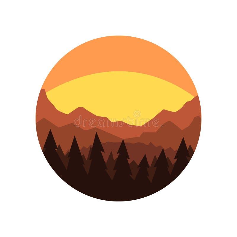 Ícone redondo de Minimalistic com a silhueta da floresta do pinho, do cume da montanha e do céu bonito da noite Cenário natural c ilustração do vetor
