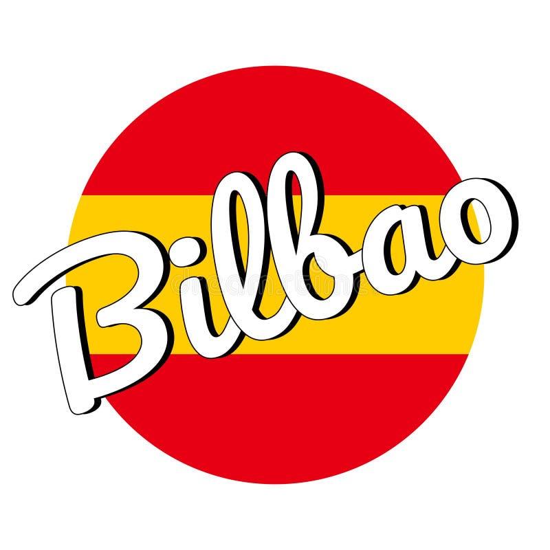 Ícone redondo do botão da bandeira nacional da Espanha com cores vermelhas e amarelas e a inscrição do nome da cidade: Bilbao em  ilustração stock