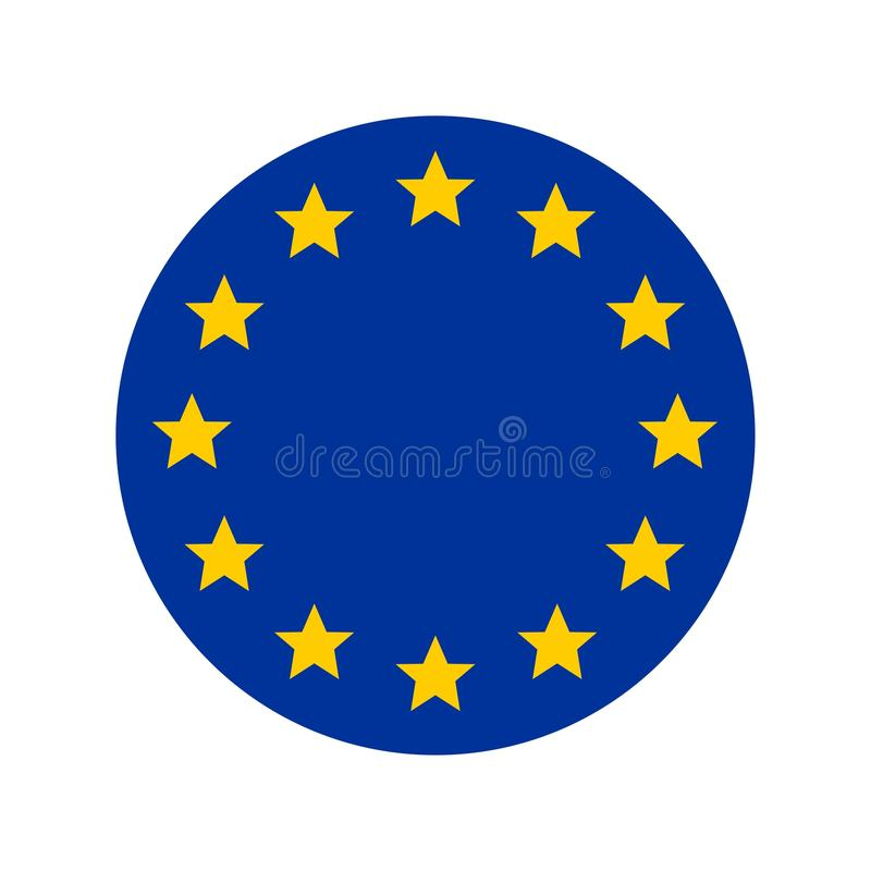 ?cone redondo do bot?o da bandeira nacional da Uni?o Europeia ilustração do vetor