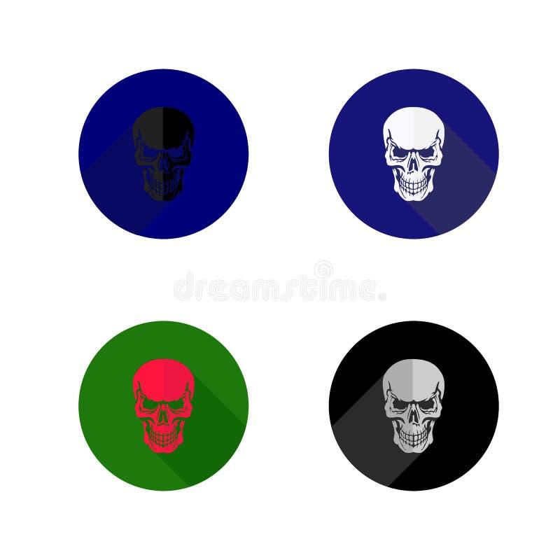Ícone redondo do crânio Ícones da coleção, estilo liso, no backgrou branco ilustração do vetor