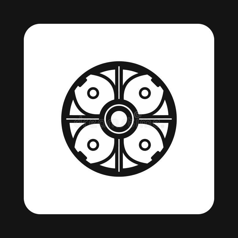 Ícone redondo do protetor da batalha, estilo simples ilustração do vetor