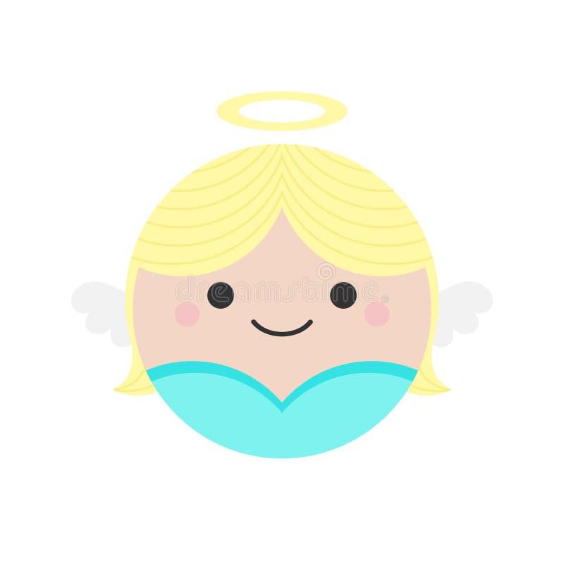 Ícone redondo do vetor do anjo bonito ilustração royalty free