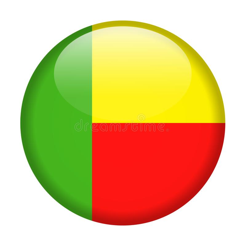 Ícone redondo do vetor da bandeira de Benin ilustração royalty free