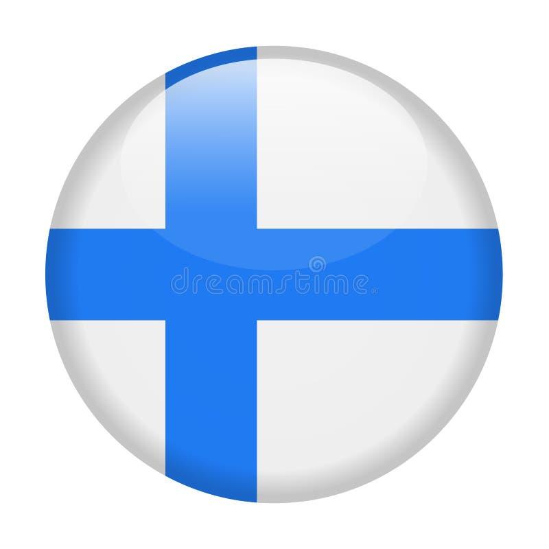 Ícone redondo do vetor da bandeira de Finlandia ilustração royalty free