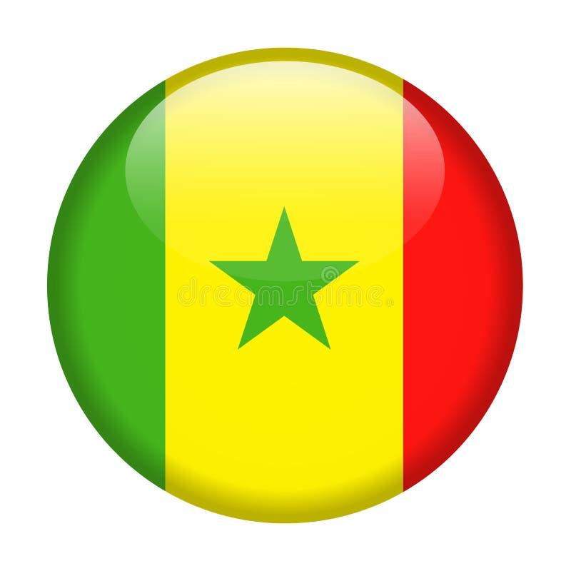 Ícone redondo do vetor da bandeira de Senegal ilustração royalty free