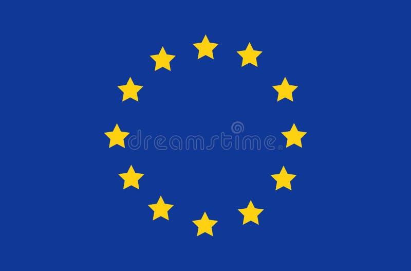Ícone redondo do vetor da bandeira da União Europeia isolado, cores do botão e proporção oficiais corretamente Bandeira, ilustração do vetor