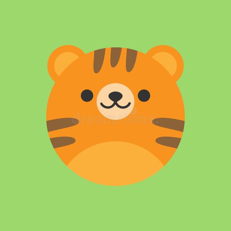 Ícone redondo do vetor do tigre bonito ilustração do vetor