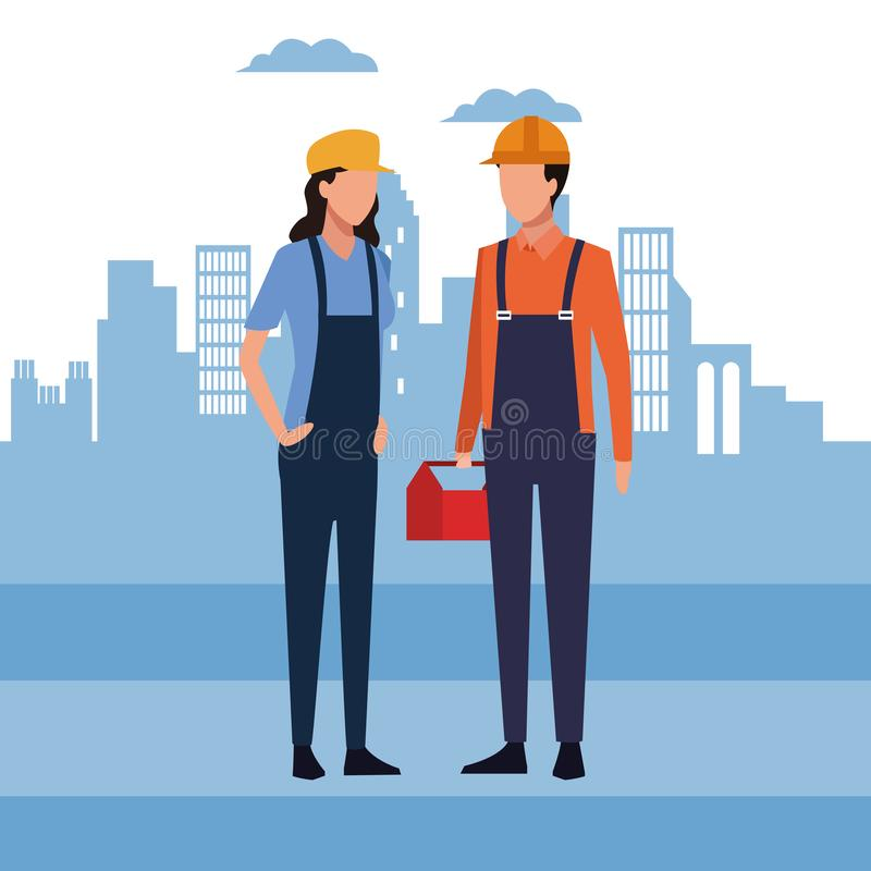 Ícone redondo dos trabalhadores da construção ilustração do vetor