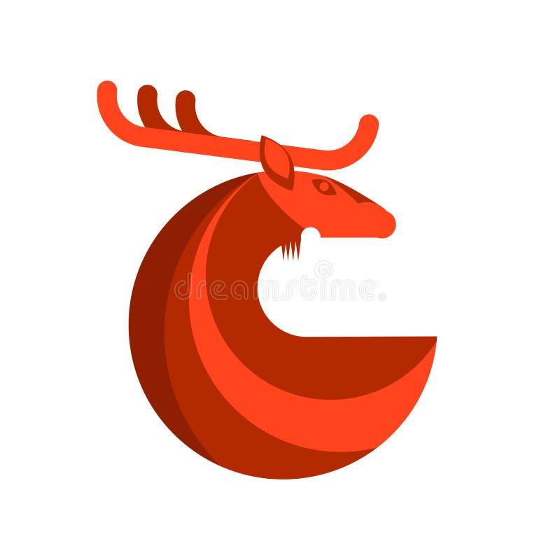 Ícone redondo dos veados vermelhos ilustração stock