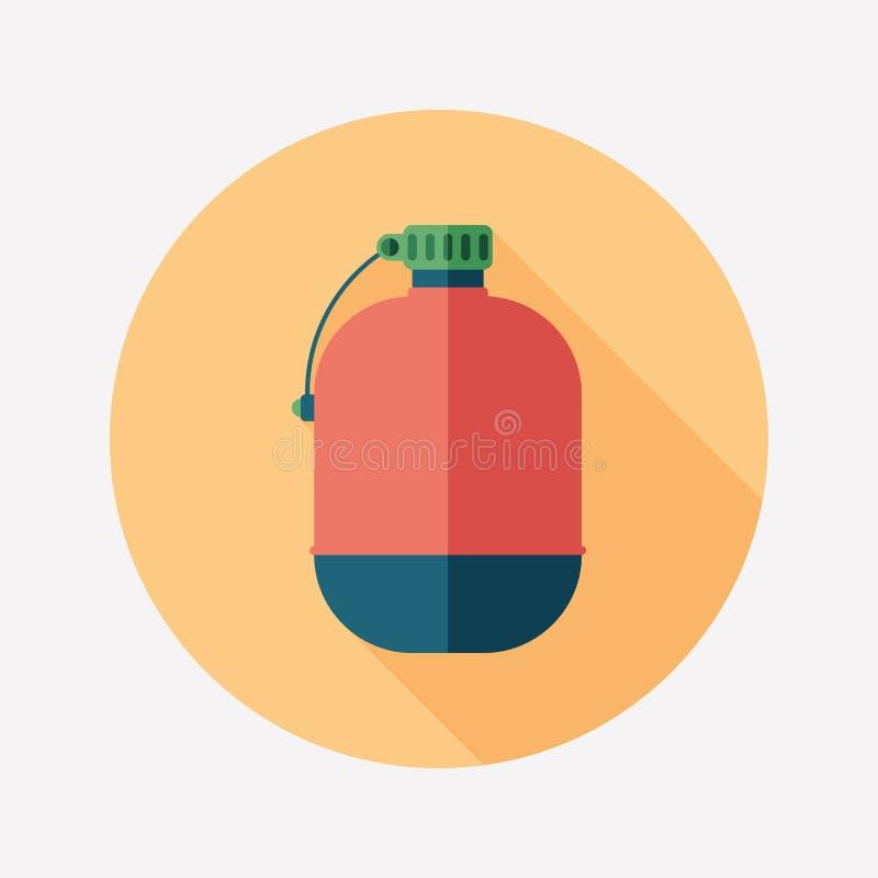 Ícone redondo liso da garrafa do turista com sombras longas ilustração do vetor
