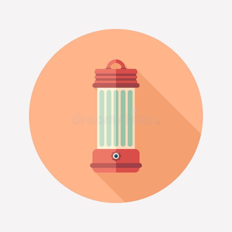 Ícone redondo liso da lâmpada de querosene com sombras longas ilustração royalty free