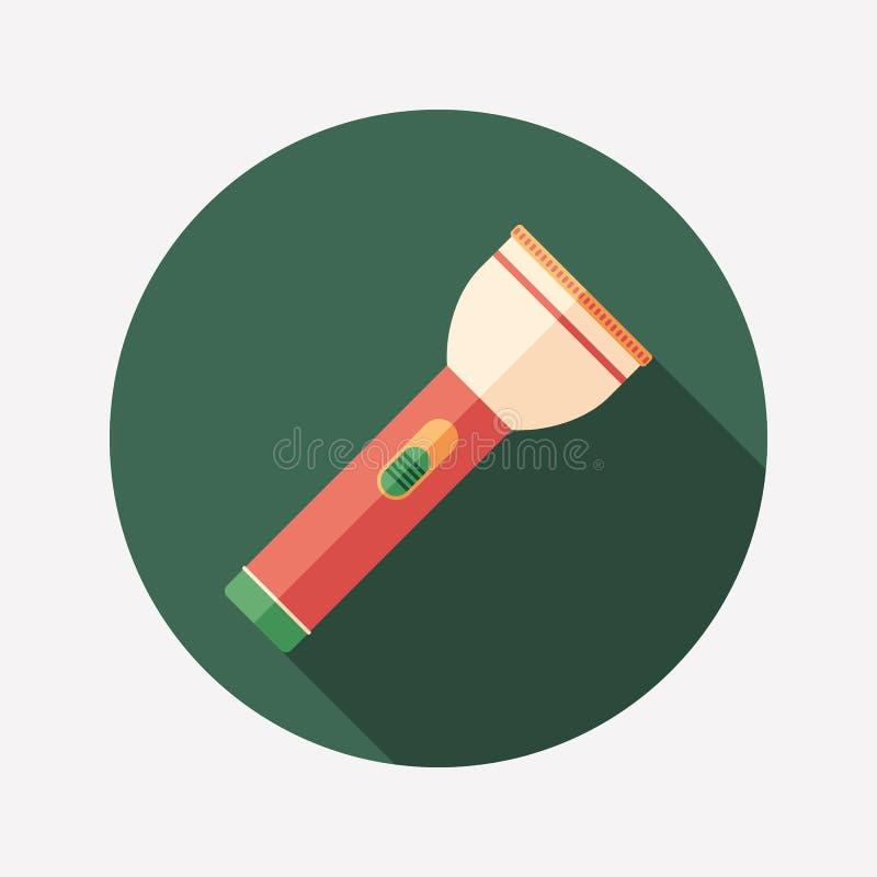 Ícone redondo liso da lanterna elétrica do curso com sombras longas ilustração stock